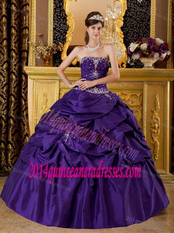 4eb82921bb Beading Strapless Purple Ball Gown Appliques Quinceanera Dress with Pick-up