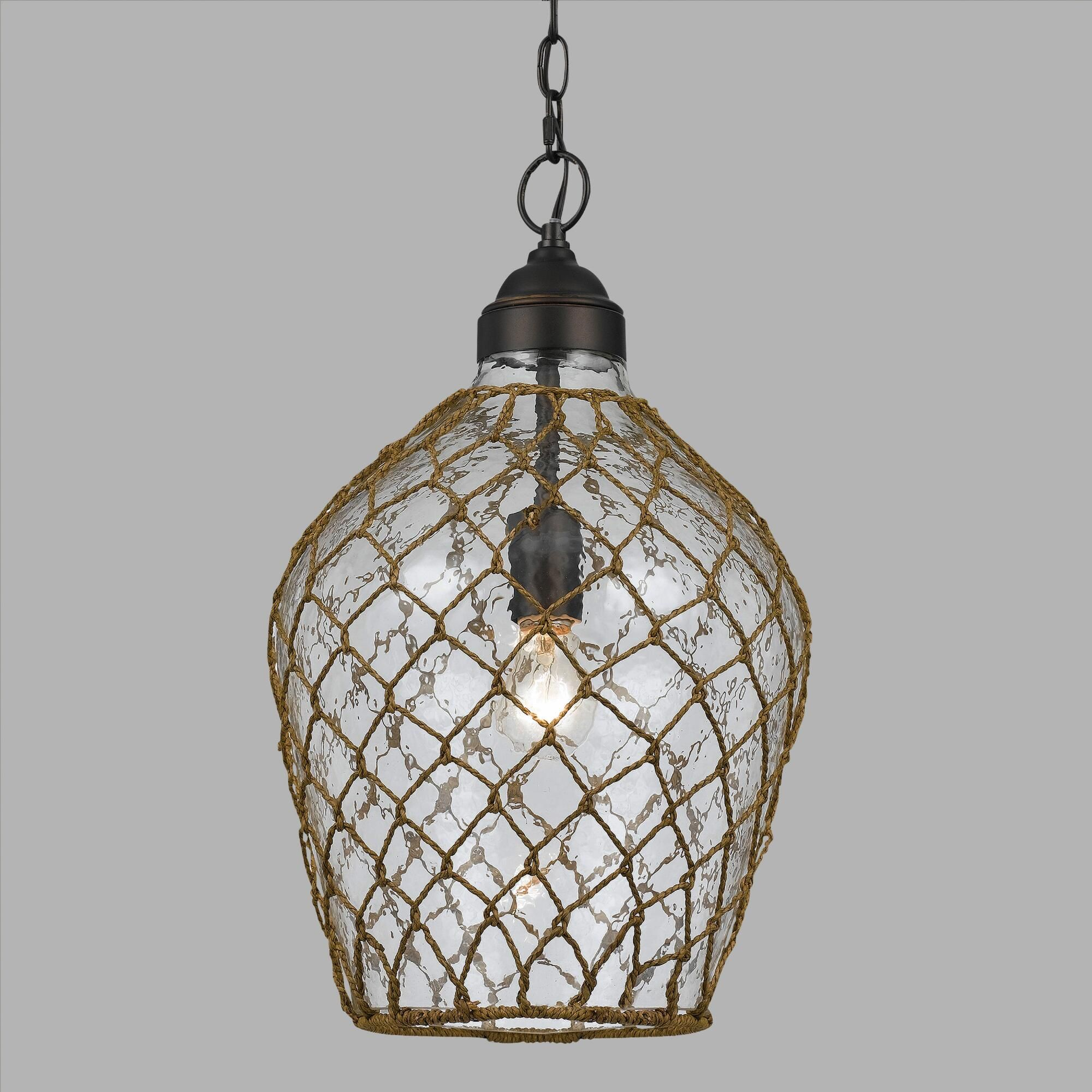 Featuring a textured bubble glass shade artfully wrapped in woven