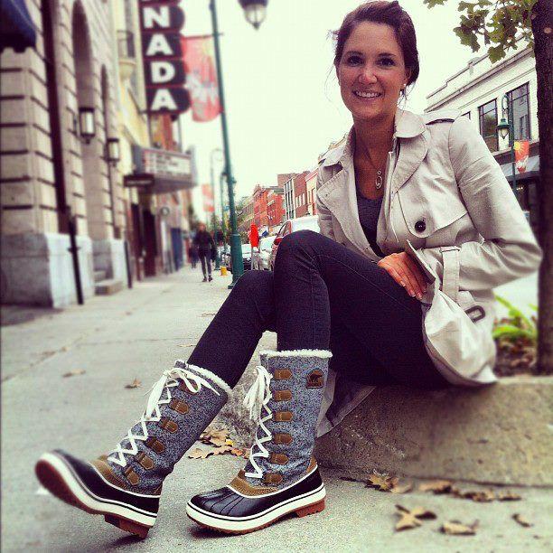 Too cute #SOREL   Sorel boots outfit