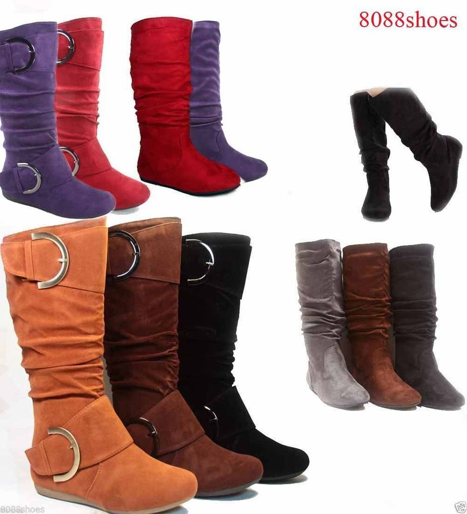 f7d784fcfaaa Women-039-s-Cute-Slouch-Comfort-Casual-Flat-Heel-Mid-Calf-Round-Toe-Boot- shoes-New