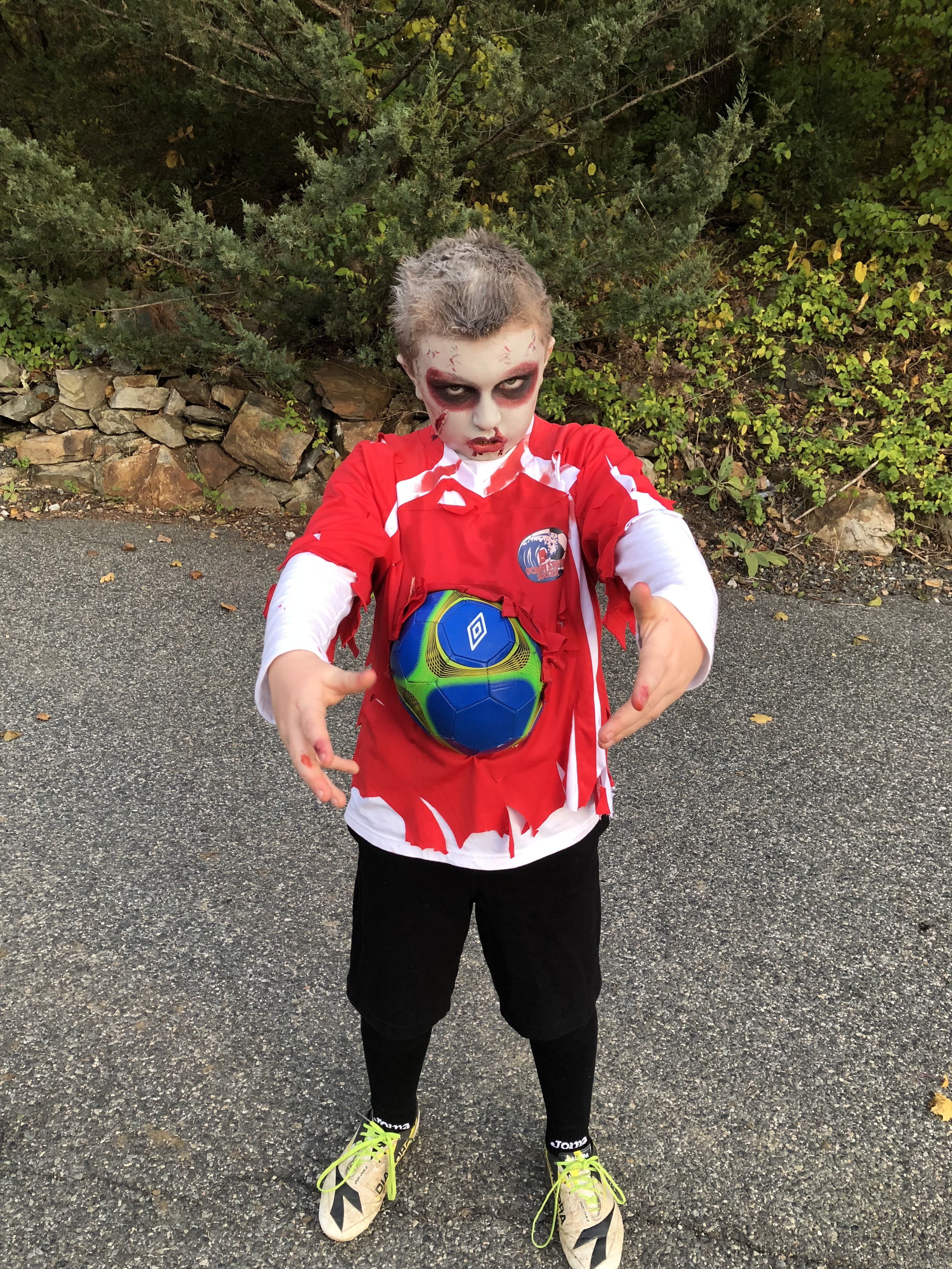 Zombie Soccer Player Used Cream Face Make Up Morphe Palette Super Fun And Inexpensive To Make Glued The So Soccer Player Costume Zombie Costume 80s Costume