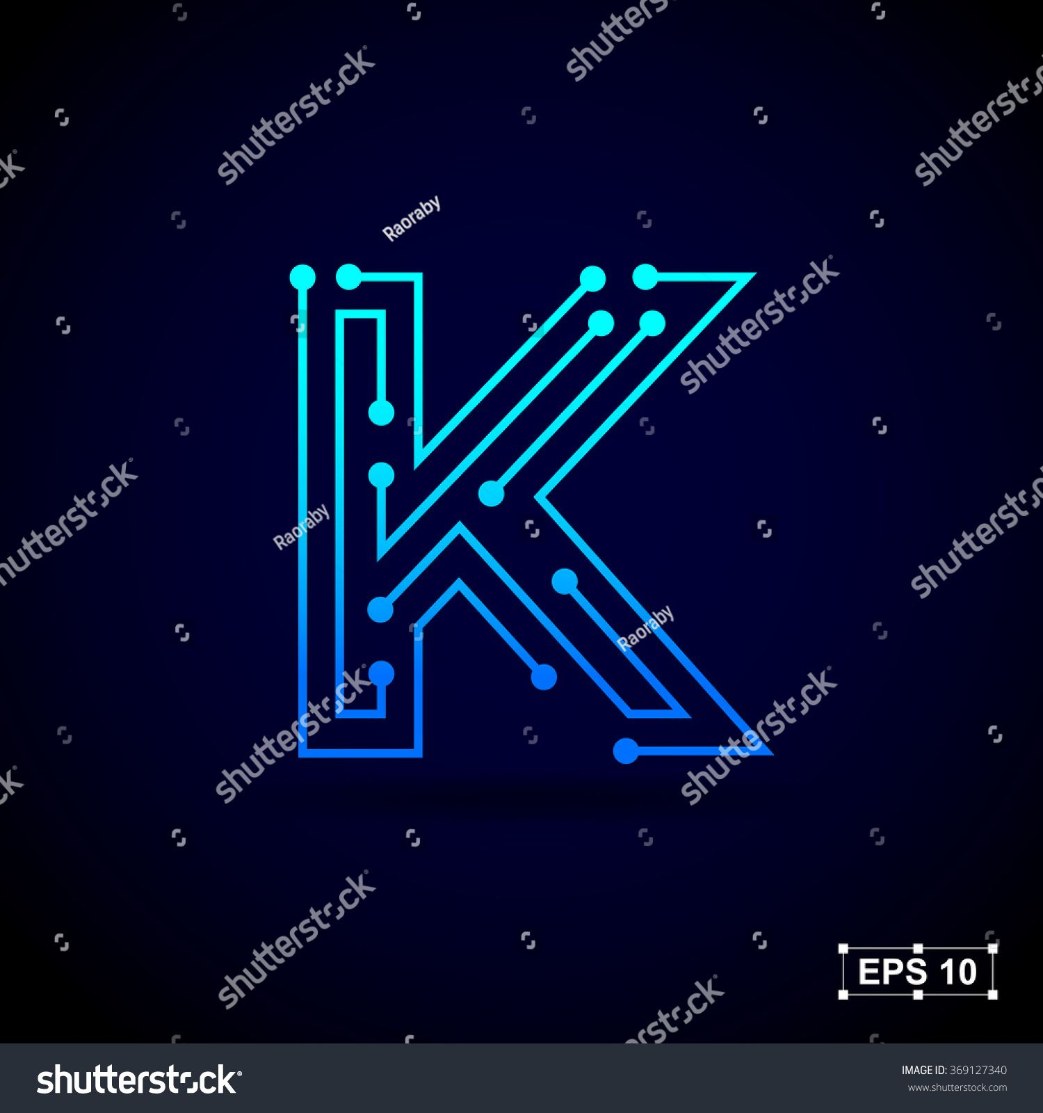 Letter K logo design template,Technology abstract dot