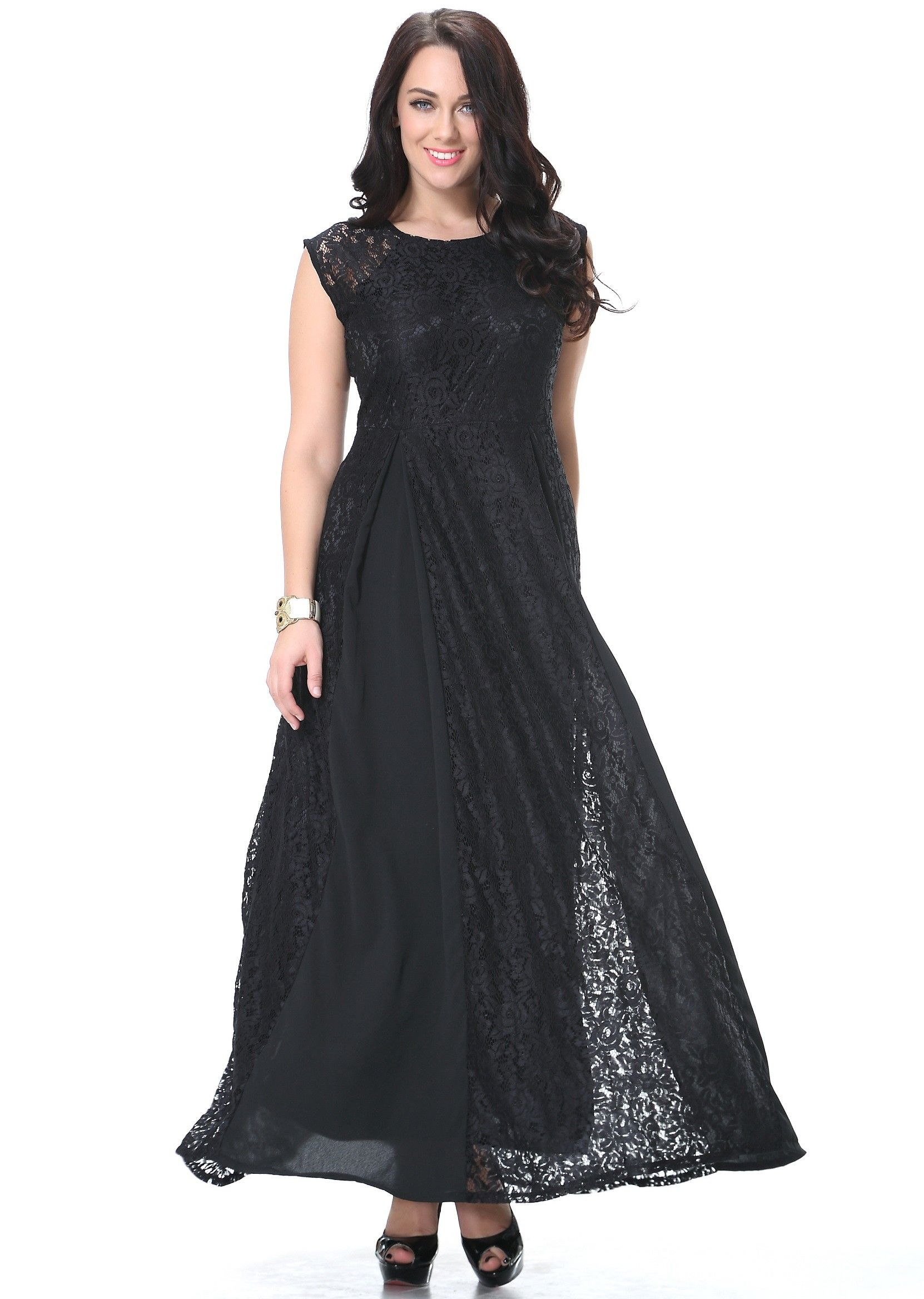 Plus size black lace joint full skirt summer dress idreammart