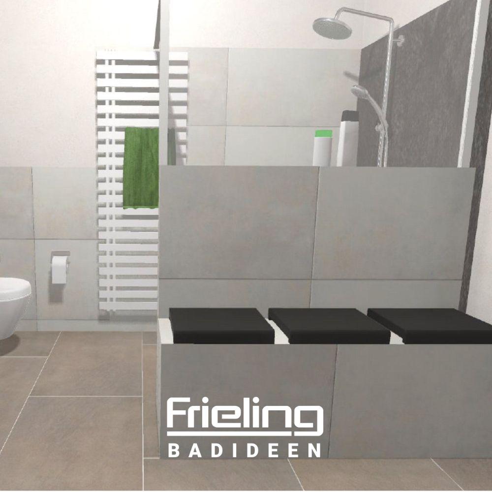 Das Bad Mit Sitzbank Ansicht Sitzbank Und Wandheizkorper Badezimmer Sitzgelegenheiten Walk In Dusche