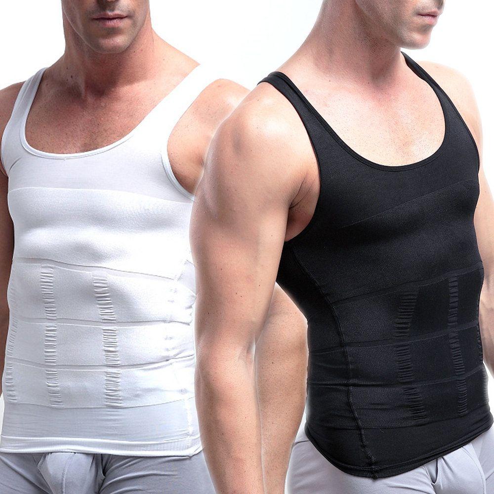 Men/'s Body Shaper Corset Slimming Vest Shirt Tummy Control Zipper Mesh Shapewear