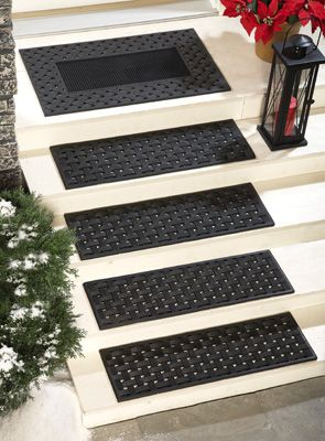 Rubber Stair Treads | Rubber Basket Weave Stair Treads   Set Of 4 From  Collections Etc.