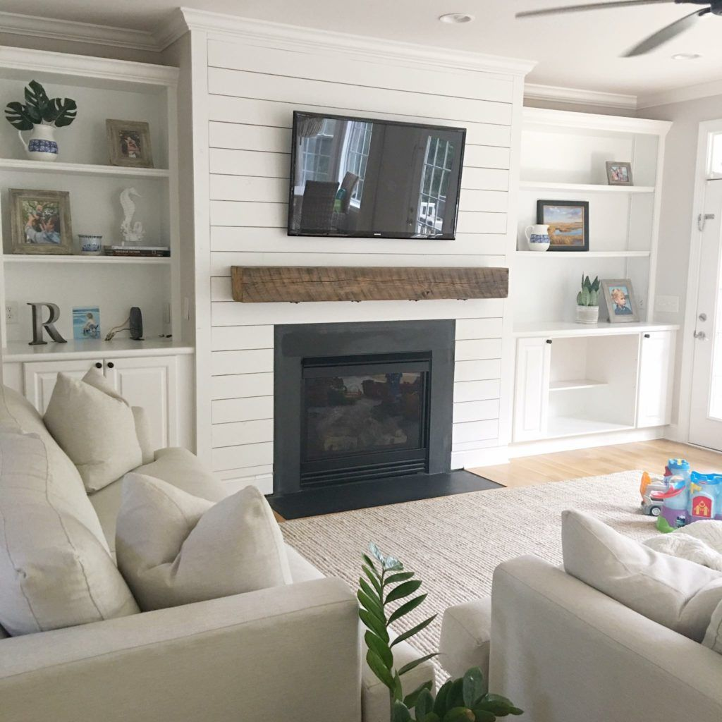 Fireplace + Shiplap - Before and After - The Coastal Oak