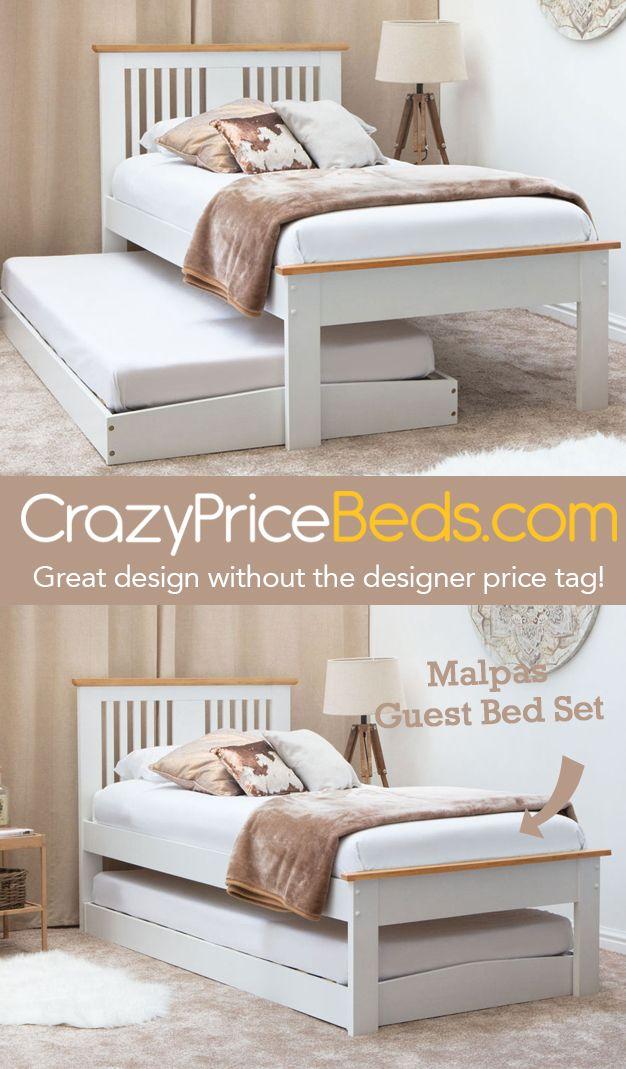 malpas white oak top wooden bed with guest bed single size rh pinterest com