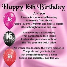 Sweet 16 Quotes for Niece Personalised Coaster Niece Poem