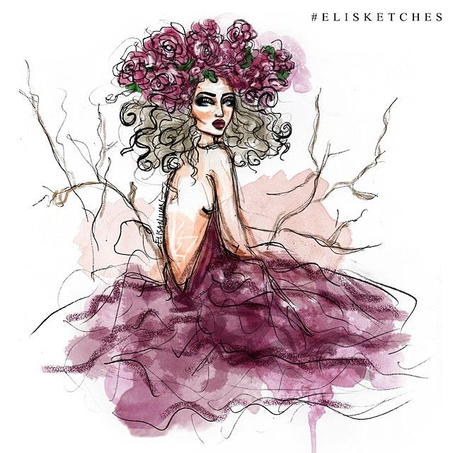 Flower Maiden  #elisketches #fashionillustration