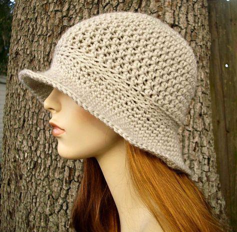 Crochet Hat Womens Hat - Crocheted Sun Hat in Cream Linen - Cream ...
