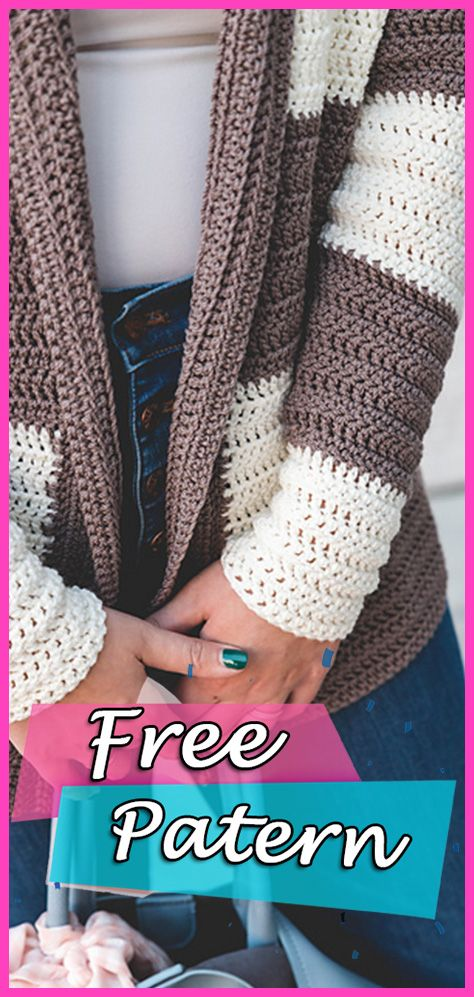 Slouchy Stripe Cardigan Crochet Free Pattern #crochet ...