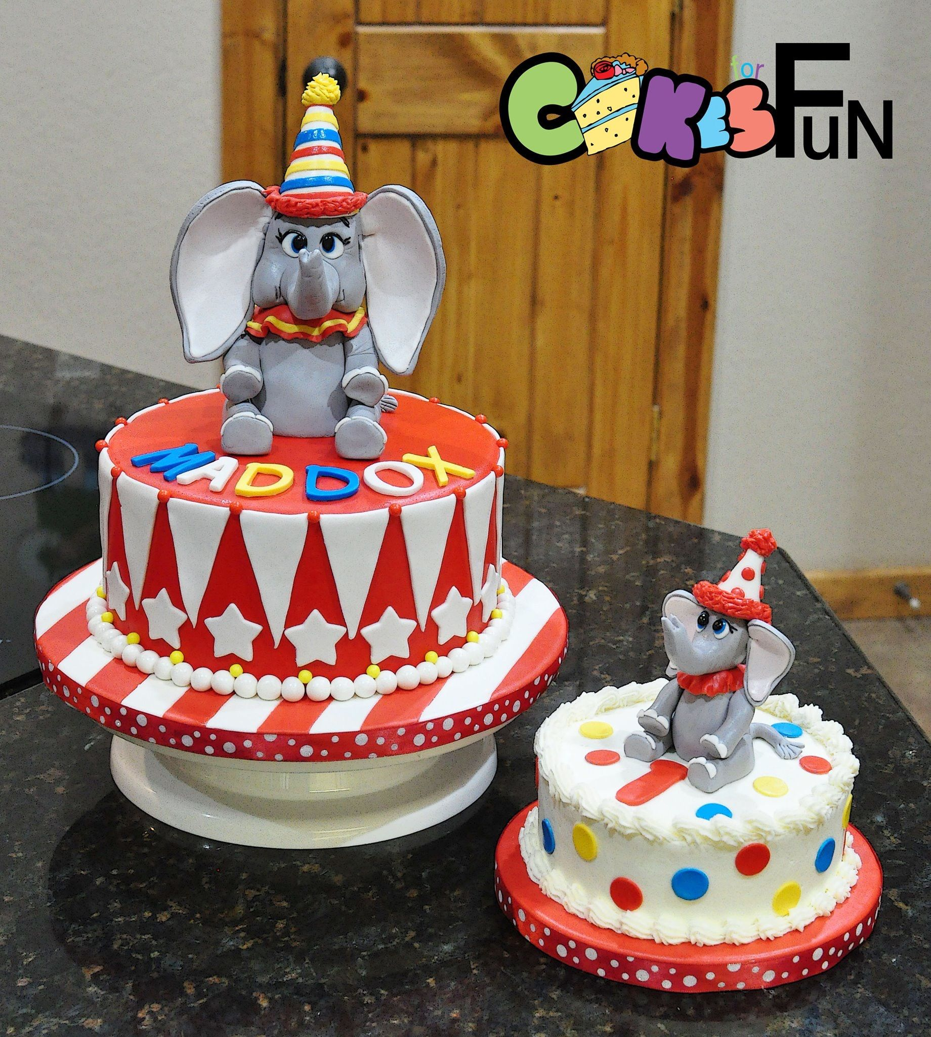 Awesome Dumbo The Elephant Birthday Cake And Smash Cake For First Birthday Birthday Cards Printable Trancafe Filternl