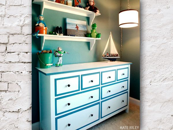 Personalized Dresser Kate Found This Ikea Hemnes Dresser On Craigslist And Personalized It With Some Crisp Blue Stri House Styles Ikea Hemnes Dresser