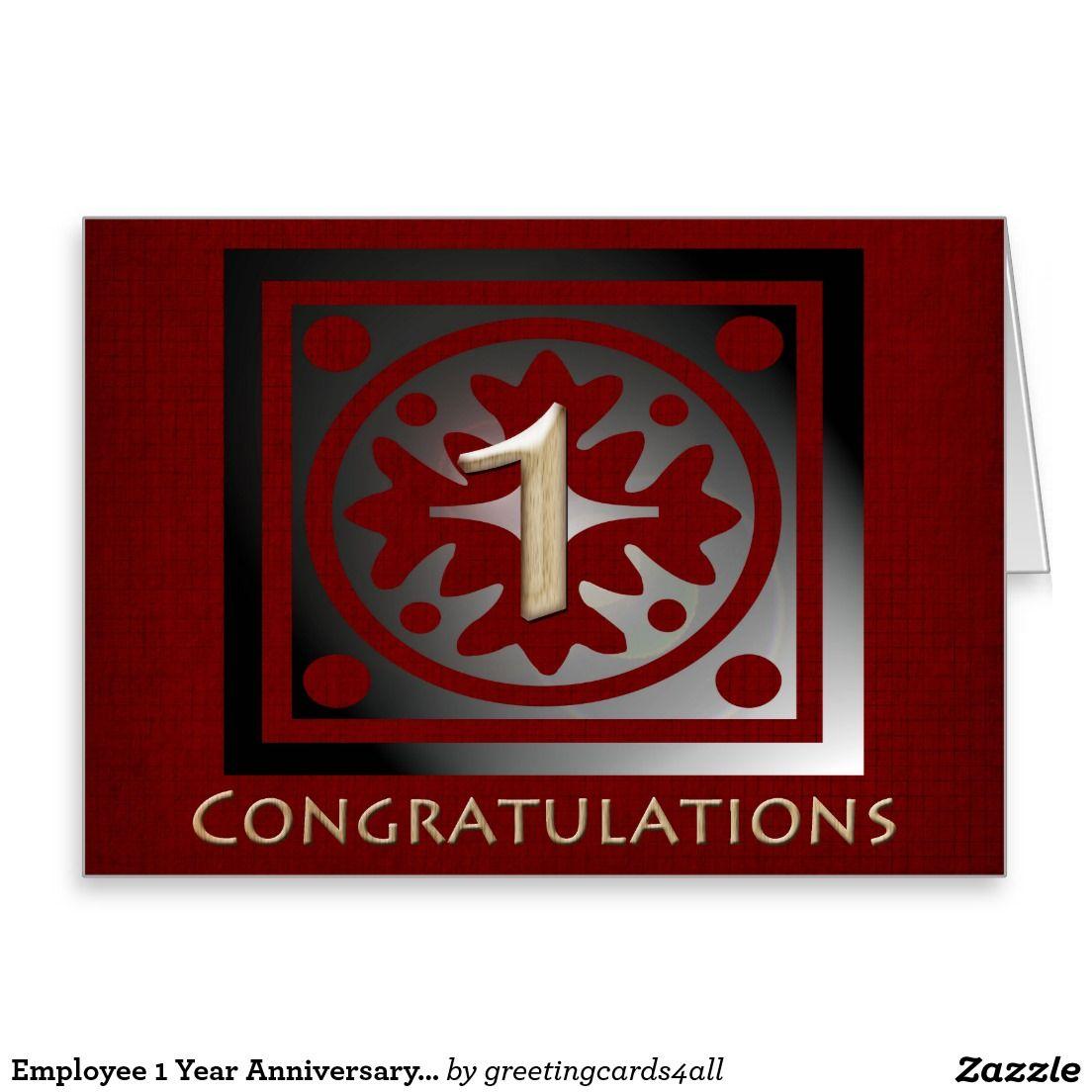 Employee 1 year anniversary elegant golden red greeting card employee 1 year anniversary elegant golden red greeting card kristyandbryce Choice Image