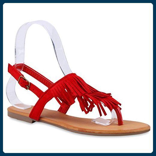 Modische Damen Fransen Sandalen Ethno Zehentrenner Sommer Schuh Schuhe 120438 Rot Camargo 36 Flandell 6ALnLsAgE