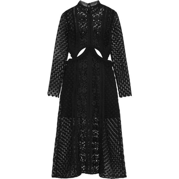f9d7092d19c8 Self-Portrait Cutout guipure lace midi dress (£360) ❤ liked on Polyvore  featuring dresses, black, long sleeve dress, floral lace dress, lace dress,  long ...