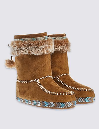 d6cbf90fd40e64 Pull On Braid Faux Fur Trim Slipper Boots