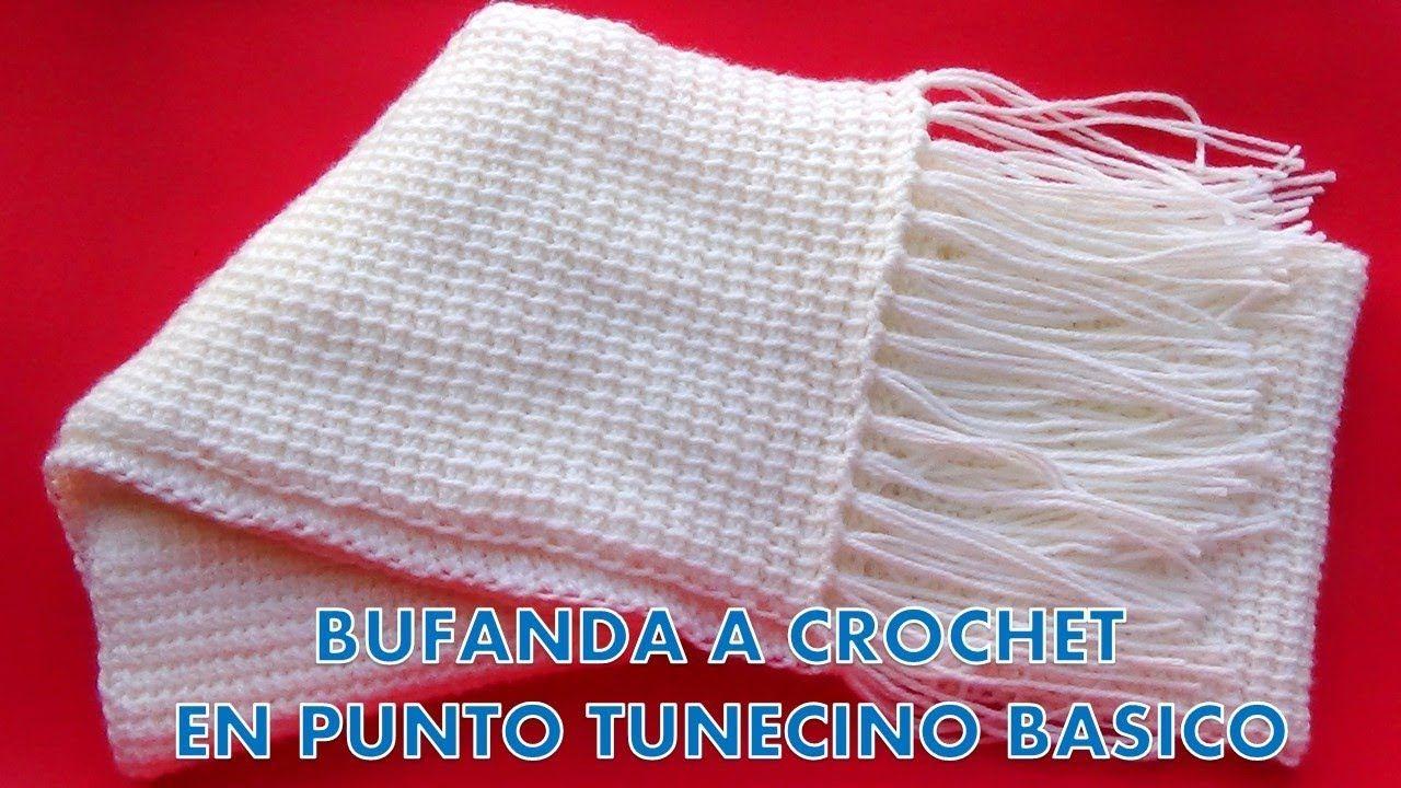 Como hacer una Bufanda o chalina UNISEX a crochet en Punto Tunecino ...