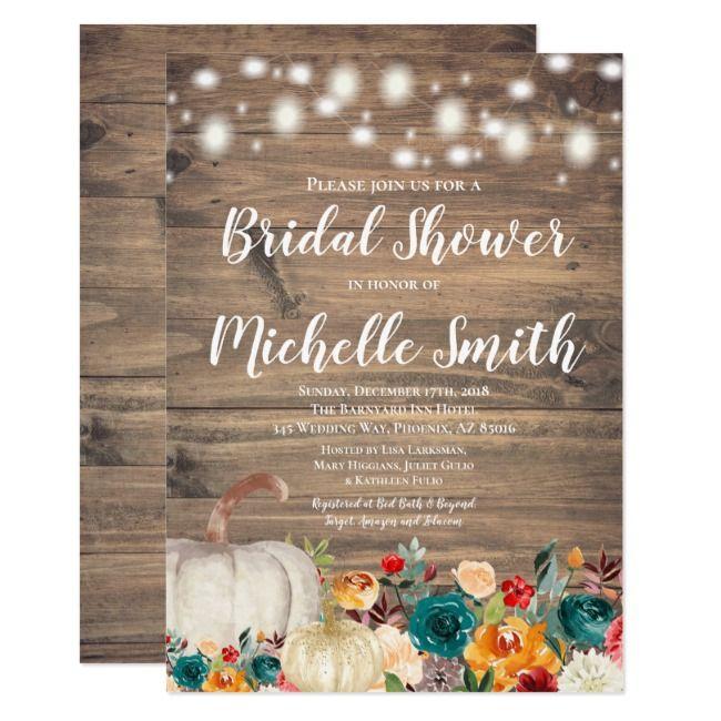 Rustic Orange Teal Gold Pumpkin Bridal Shower Invitation |  Rustic Orange Teal Gold Pumpkin Bridal Shower Invitation