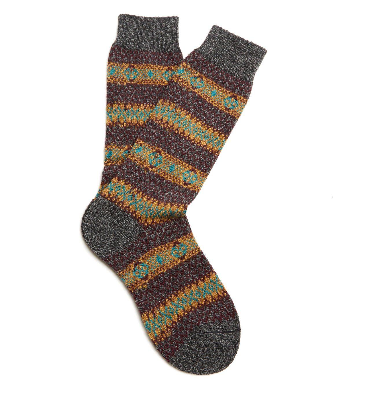Wool Men/'s Sock Scott-Nichol Felbrigg Country Fairisle Stripe