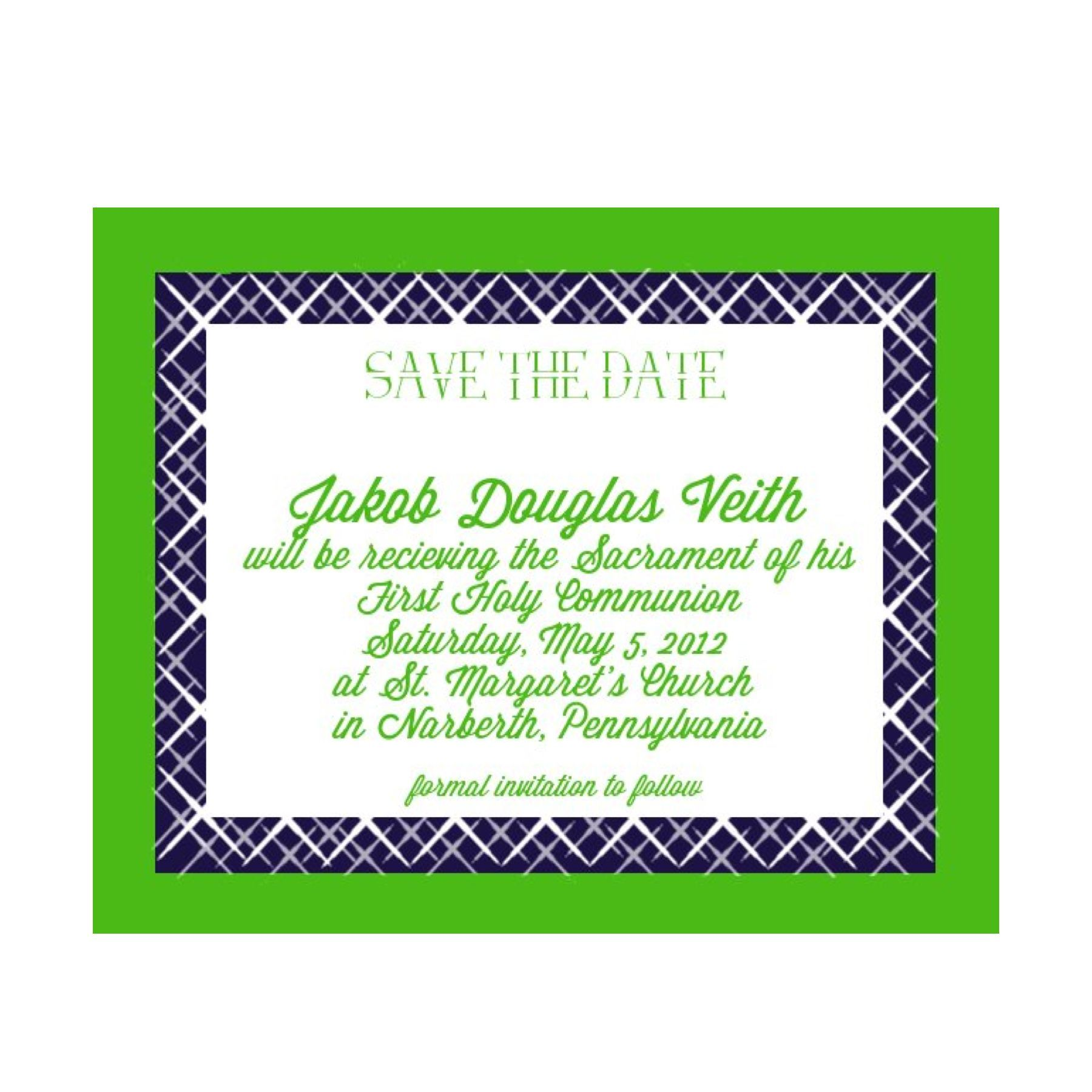 First Communion Save The Date Mission Accomplished Communion