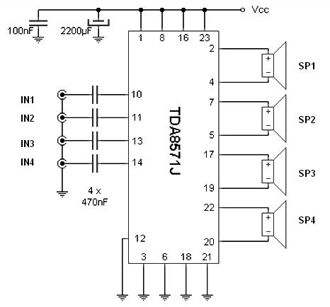 This circuit provides a total of four speakers 4 ohms and ...