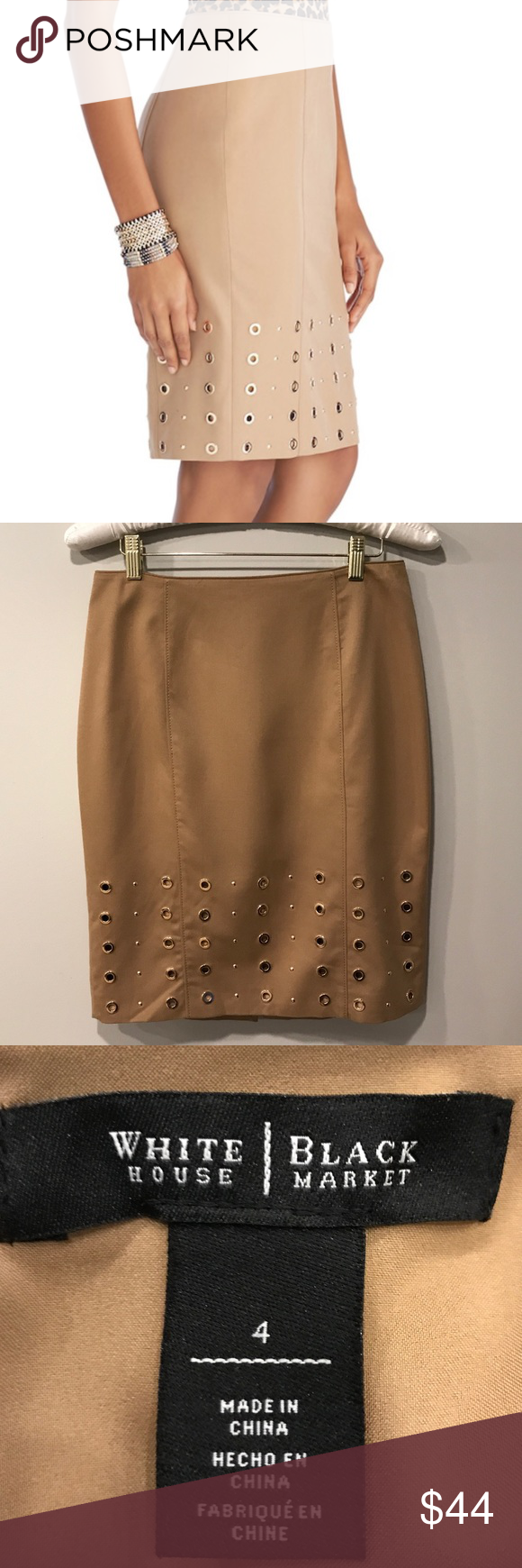 29562a5fd White House Black Market Grommet Pencil Skirt. 4 White House Black Market  Tan Grommet Pencil