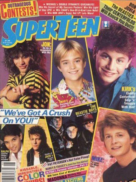 Kirk Cameron, Jon Bon Jovi, Chad Allen and Michael J. Fox - Superteen (August, 1987). 80s Heartthrobs http://www.ivillage.com/flashback-justin-timberlakes-nsync-curls-bop-more-vintage-teen-magazine-covers/1-a-527453#