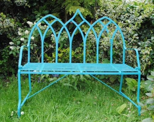 Gothic Style Wrought Iron Strapwork Bench Available With 2