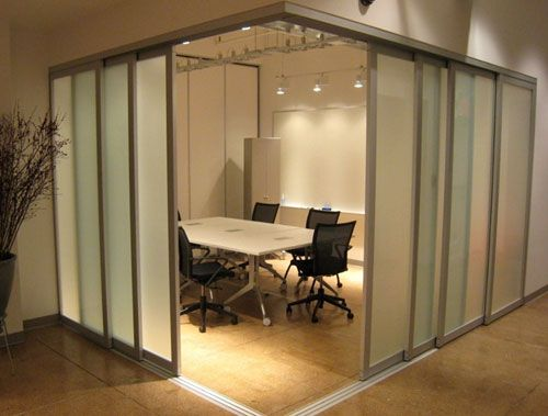 Commercial sliding glass doors interior interiors with for Sliding door partition wall