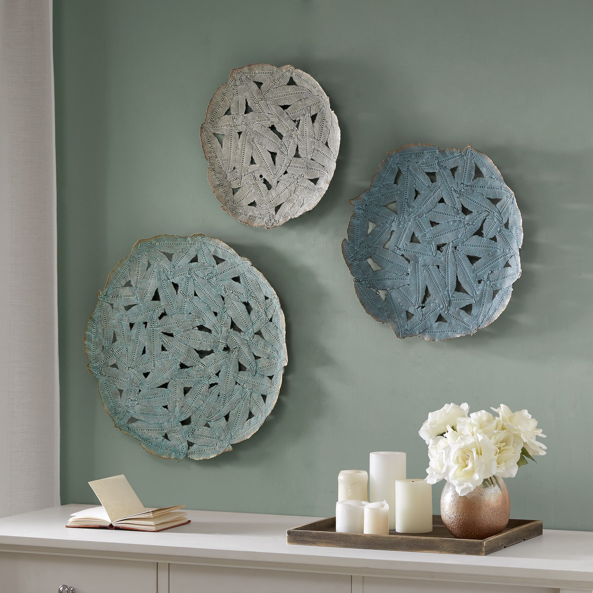 Iron Pieces Walls Madison Park Rosalie Blue Iron Painted Wall Decor Set Of 3 Set Of