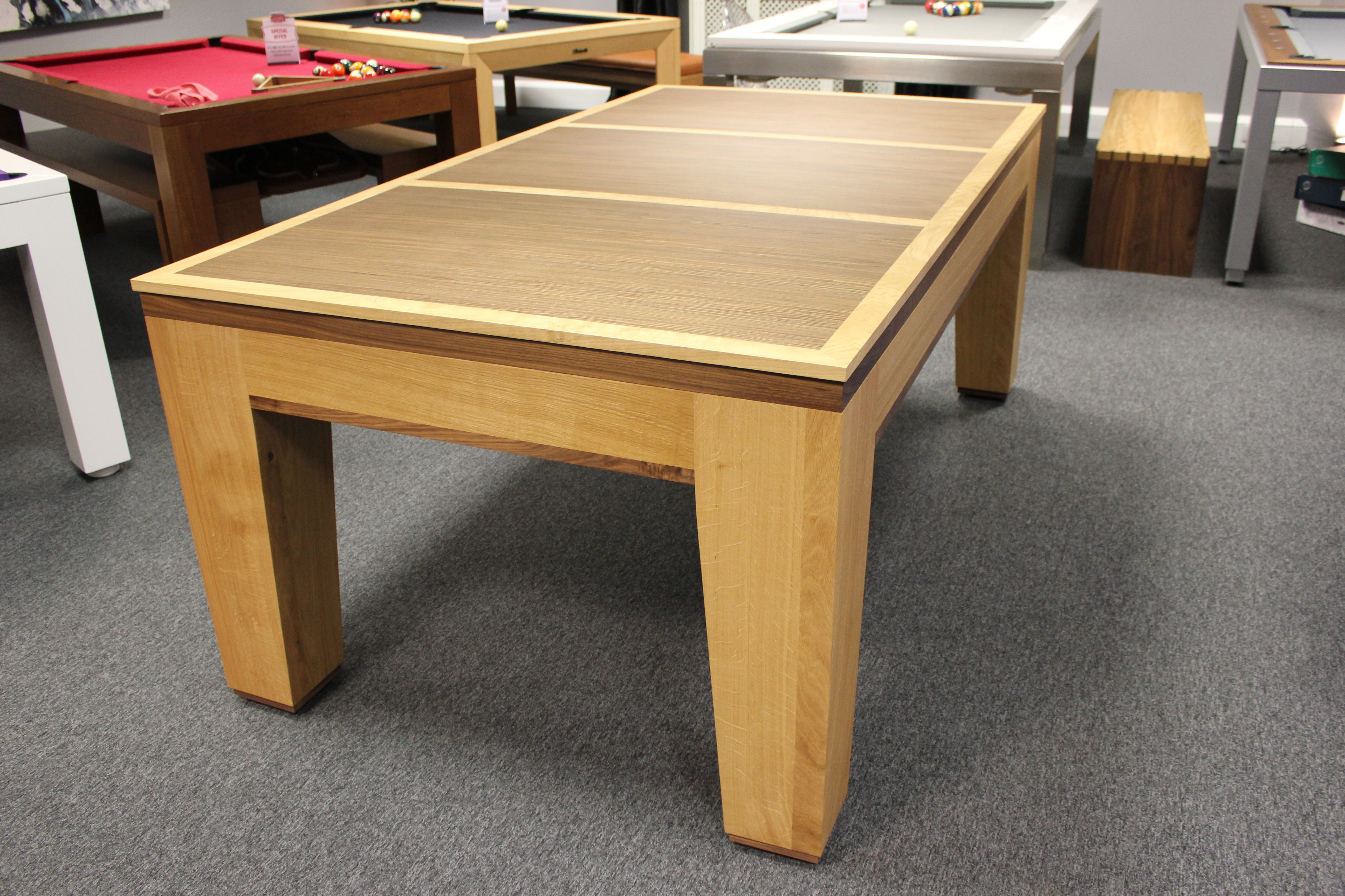 A Contemporary Dual Purpose Pool Dining Table In Oak And