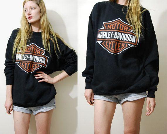 Harley Davidson Sweater 90s Vintage Black Harley Davidson Jumper