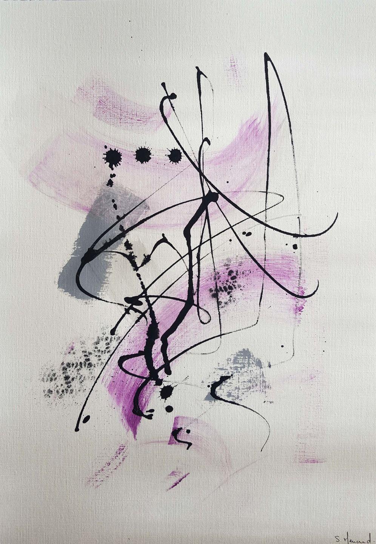 Peinture Moderne Acrylique Gris Mauve Noir Encre De Chine Sur