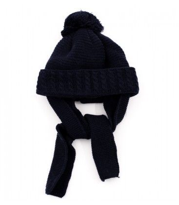 1f6aee89b Gorro azul marino para bebé con bufanda incorporada