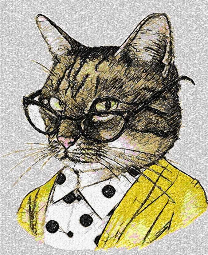 Cat With Glasses Photo Stitch Free Embroidery Design Photo Stitch