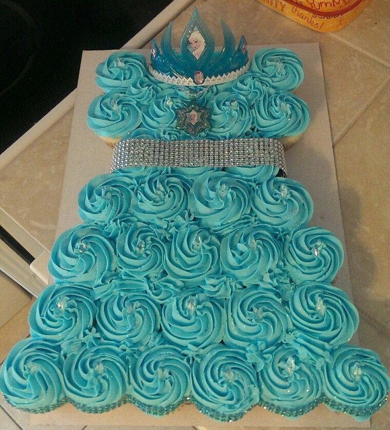 Astonishing Frozen Inspired Cupcake Cake That I Made For A 4 Year Old Birthday Funny Birthday Cards Online Fluifree Goldxyz