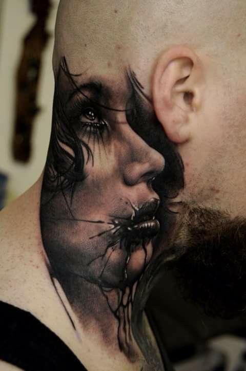 Sadness Tattoo Neck Szyja Tatuaż