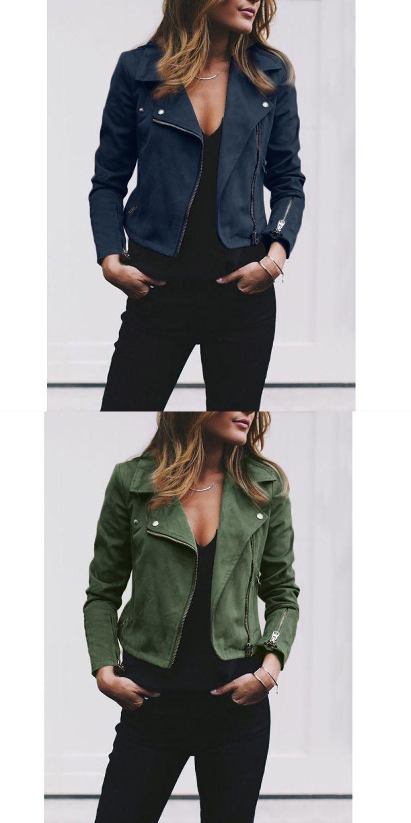 Womens Ladies Retro Rivet Zipper Solid Slim Turn Down Collar Up Bomber Jacket Casual Coat Outwear Polyester Casual Z Casual Coat Coats Jackets Women Outwear [ 1600 x 800 Pixel ]