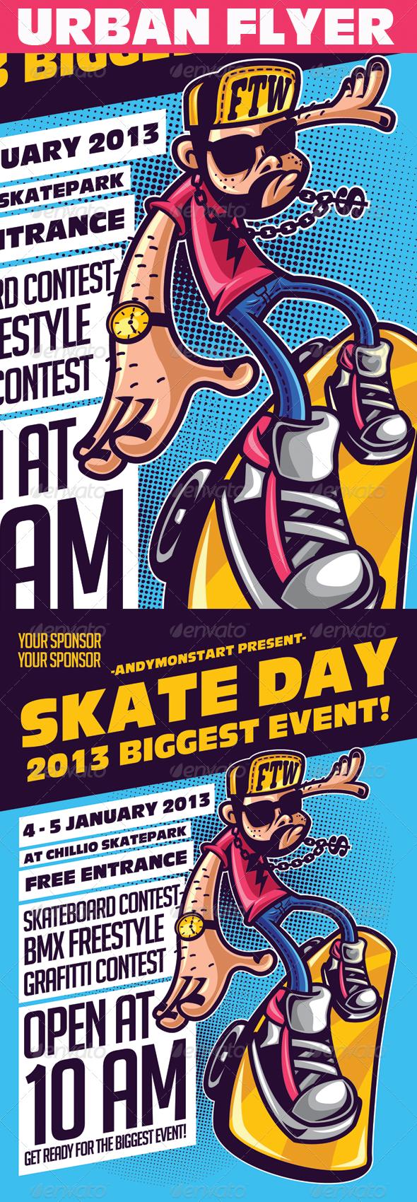 Skate Day Urban Event Flyer Event flyer, Urban graffiti