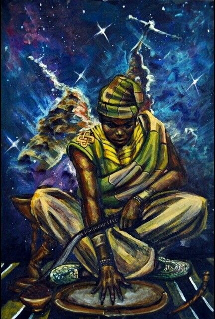 """""""Orunmila Orisha of divination and witness to creation""""by Stephen Hamilton, he's such a dope artist!"""