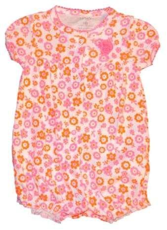 a0c0c71a1802 Carters Infant Girls Orange   Pink Floral Balloon Romper  babygirl ...
