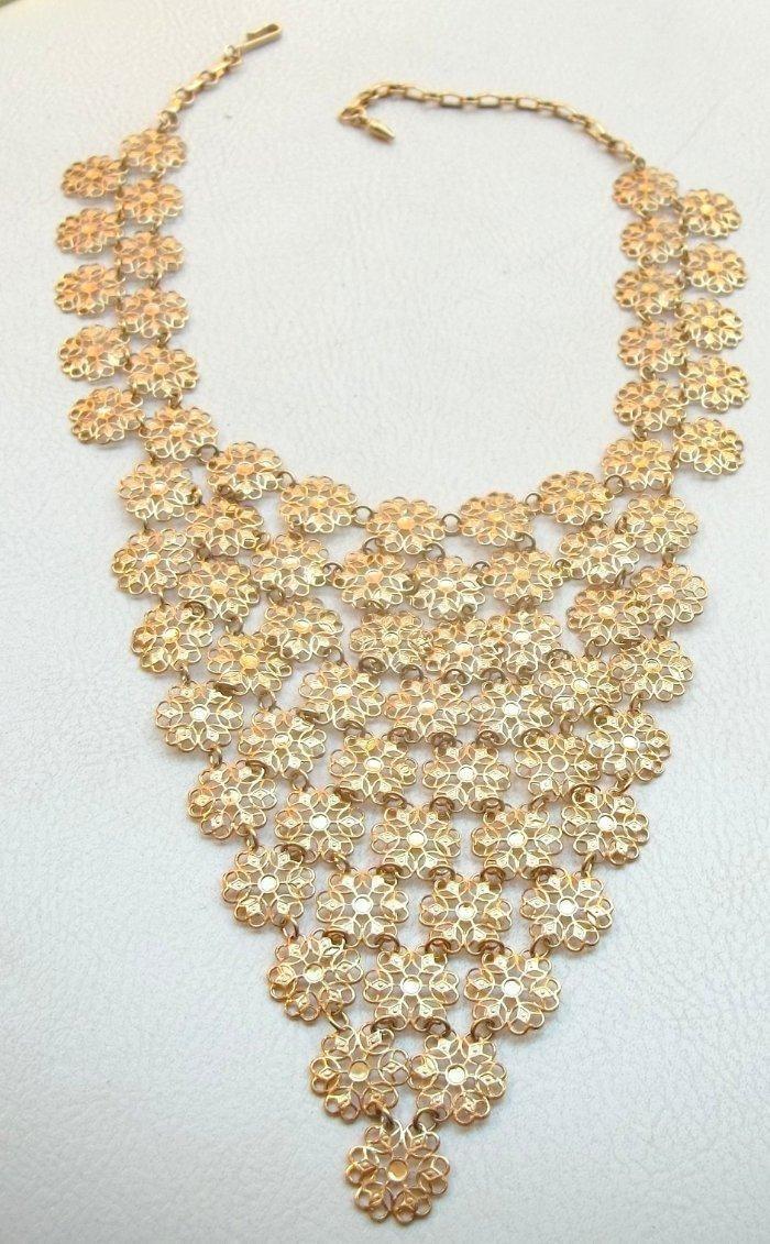 Vendome Vintage Necklace Egyptian Revival Gold Filigree Flower Chain Swag Bib   eBay
