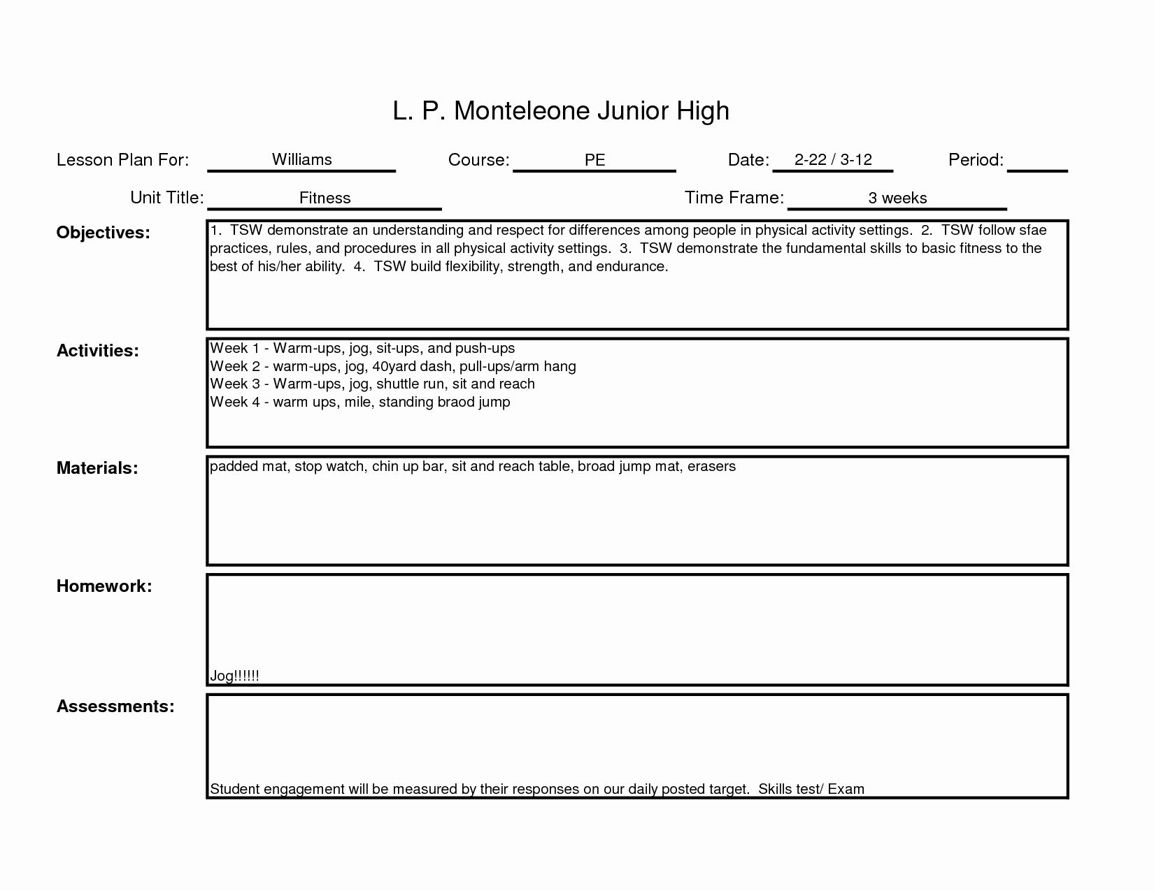 Pe Lesson Plan Template in 2020 Business plan template