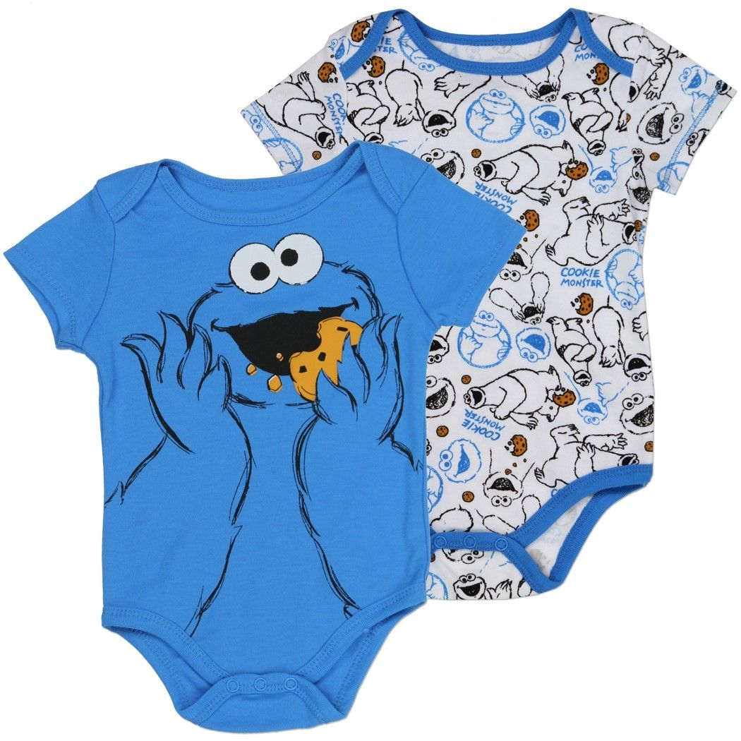 6514bb757b Cookie Monster Eating A Cookie Blue Onesie And A White Onesie With Cookie  Monster Printed All Over  HTownKids  SesameStreet  CookieMonster