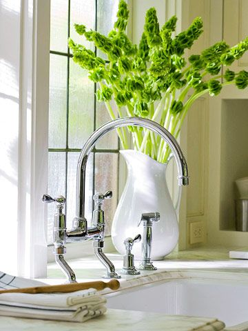 I love this faucet!  And the Bells of Ireland are a very beautiful way to add a pop of green for celebrating St patty's day!
