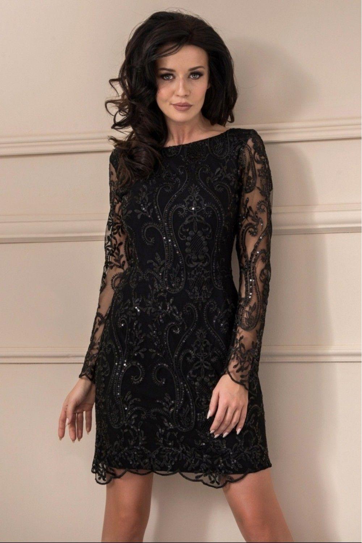 73b975a46a Czarna elegancka koronkowa sukienka idealne na wieczorne wyjścia. Kreacja  doskonale sprawdzi się na wesele oraz