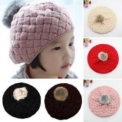 8182a8465c6 Cute Baby Kids Girls Toddler Winter Warm Knitted Crochet Beanie Hat Beret  Cap