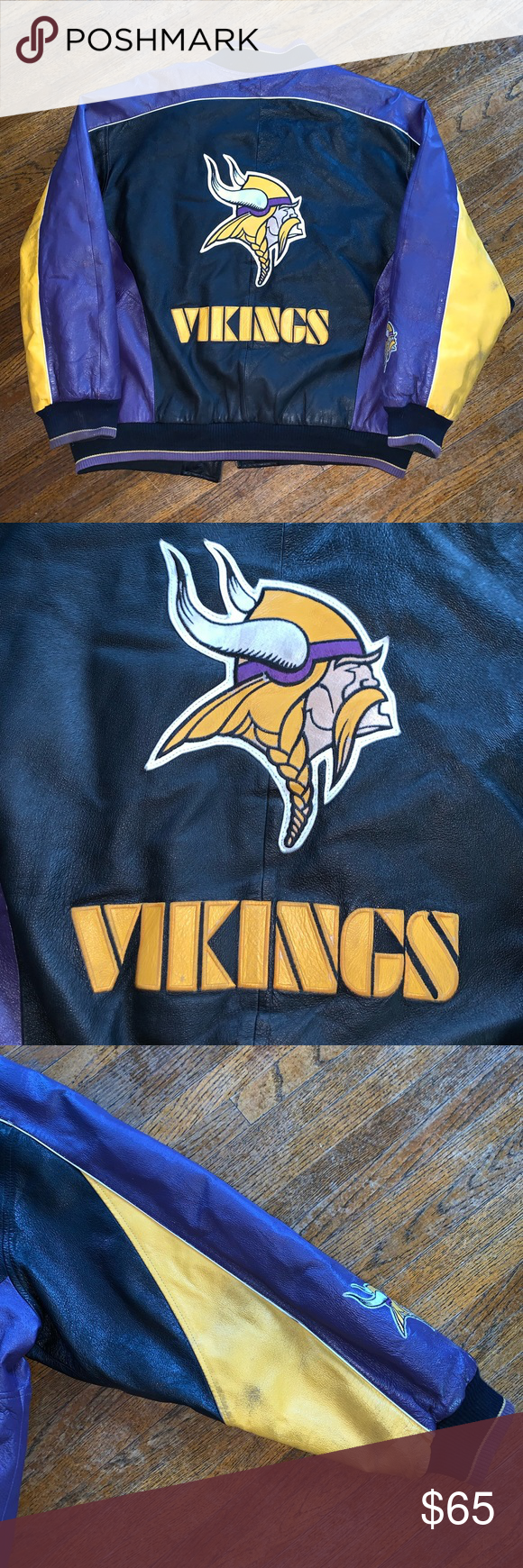 Vintage Minnesota Vikings Leather Jacket Great Pre Owned Condition It Comes From A Smoke Free Home Minor Wear As Pictured Leather Jacket Jackets How To Wear [ 1740 x 580 Pixel ]